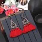 Romwe Triangle Design Tassel Drop Earrings