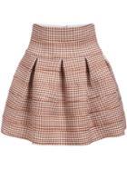 Romwe Houndstooth Zipper Flare Skirt