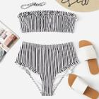 Romwe Striped Frill Decorated Bandeau With High Waist Bikini