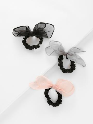 Romwe Bow Tie Hair Ties 3pcs