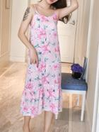 Romwe Floral Print Ruffle Hem Cami Dress