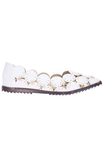 Romwe Romwe Hollow Out White Flat Shoes