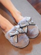 Romwe Contrast Piping Bow Decor Fluffy Slippers
