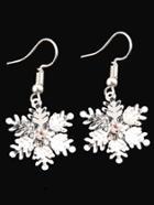 Romwe Rhinestone Snowflake Design Drop Earrings