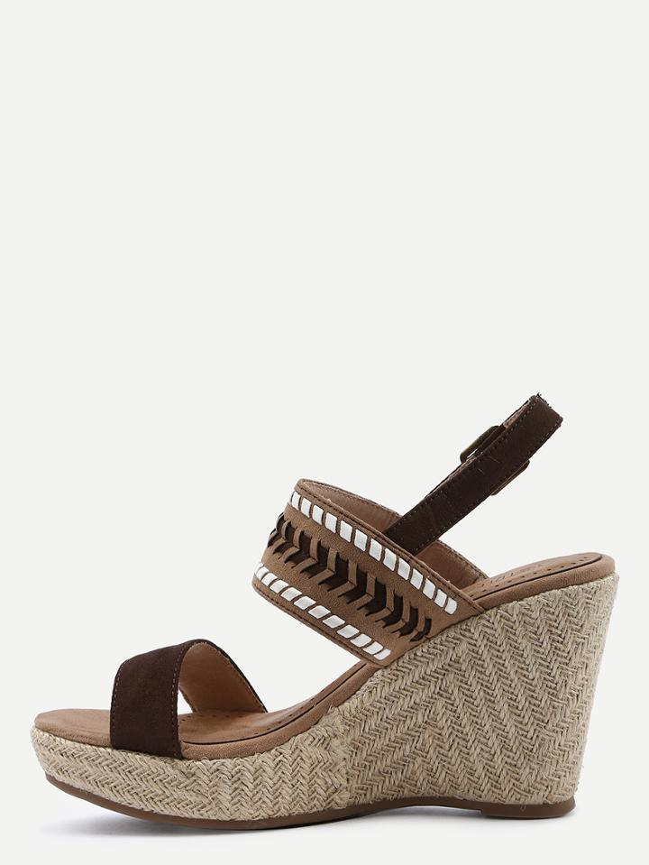 Romwe Brown Ankle Strap Wedges