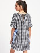 Romwe Fluted Sleeve Gingham Dress With Contrast Side Tie