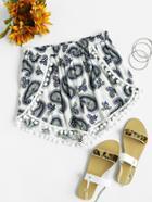 Romwe Pom Pom Trim Paisley Print Wrap Shorts