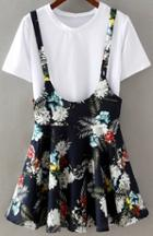 Romwe Short Sleeve Top With Strap Flower Print Pleated Skirt