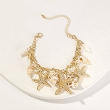 Romwe Starfish & Seashell Charm Chain Bracelet 1pc