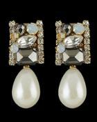 Romwe Black Gemstone Drop Stud Earrings