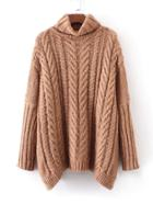 Romwe Cable Knit Turtleneck Oversized Sweater