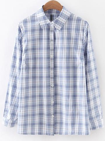 Romwe Blue Long Sleeve Buttons Front Plaids Blouse