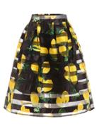 Romwe Lemon Print Box Pleated Midi Skirt