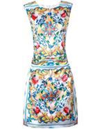 Romwe Multicolor Crew Neck Print A-line Dress