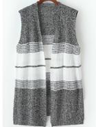 Romwe Sleeveless Striped Knit Grey Cardigan