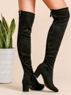 Romwe Black Faux Suede Point Toe Thigh High Boots