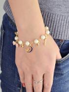 Romwe Star Moon Charm Pearl Bracelet