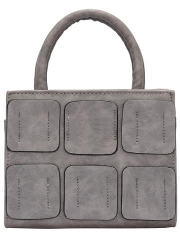 Romwe Grey Zipper Plaids Pu Tote Bag