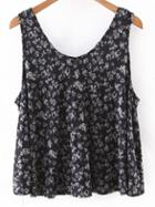 Romwe Multicolor Floral Print Chiffon Tank Top