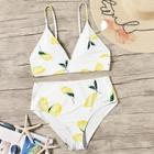 Romwe Random Lemon Print Plunge Top With High Waist Bikini