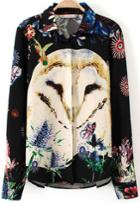 Romwe Black Long Sleeve Owl Print Blouse