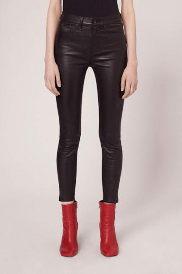 Rag & Bone - 10 Inch Capri With Slit - Black Leather - 23