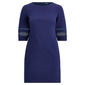 Ralph Lauren Lace-trim Jersey Shift Dress Dutch Blue