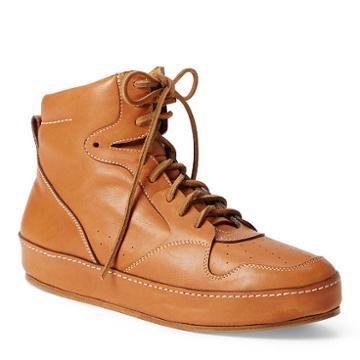 Ralph Lauren Siana Calfskin Sneaker Rl Gold
