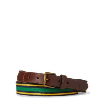 Ralph Lauren Striped Stretch Twill Belt Navy/gold Yellw/green