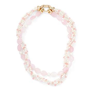 Ralph Lauren Lauren Rose Quartz Torsade Necklace Gold/pearl/pink
