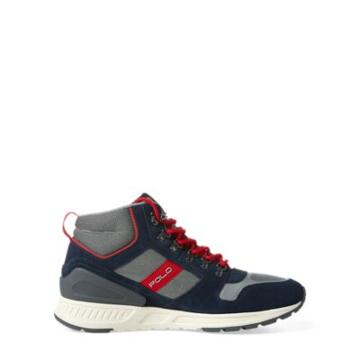 Ralph Lauren Train 100 Suede-mesh Sneaker Newport Navy/red