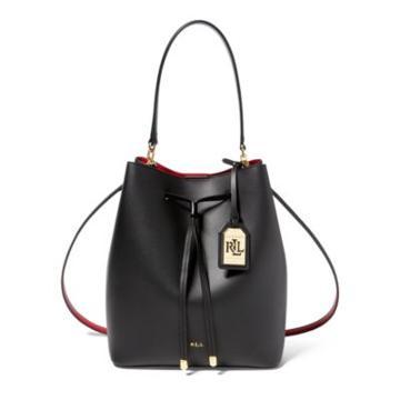 Ralph Lauren Leather Debby Drawstring Bag Black/crimson