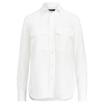 Polo Ralph Lauren Silk Crepe Button-down Shirt White