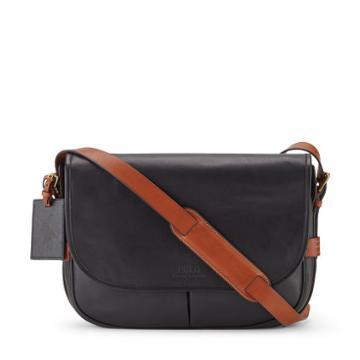 Polo Ralph Lauren Two Tone Leather Messenger Bag Black/cognac