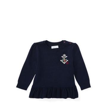 Ralph Lauren Cotton-cashmere Peplum Sweater Hunter Navy 6m