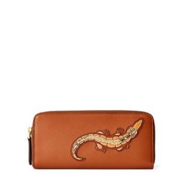 Ralph Lauren Crocodile Calf Zip Wallet Rl Gold