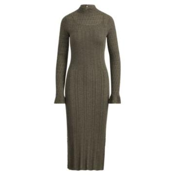 Ralph Lauren Pointelle Wool Sweater Dress Olive Melange