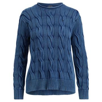Polo Ralph Lauren Boxy Cable Cotton Sweater Indigo
