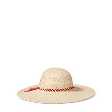 Ralph Lauren Embroidered Straw Sun Hat Natural/fuchsia