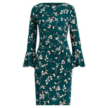 Ralph Lauren Ruffled-sleeve Jersey Dress Pine Green/tan/multi