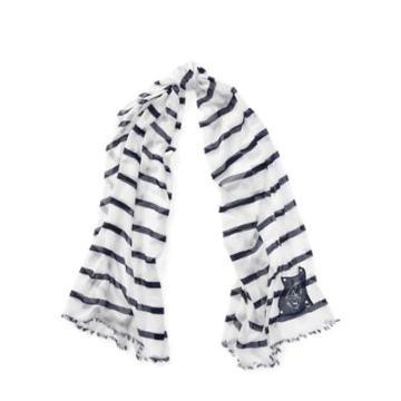 Ralph Lauren Nautical Striped Scarf White