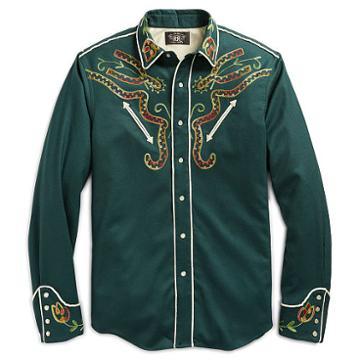 Ralph Lauren Rrl Stretch Wool Western Shirt