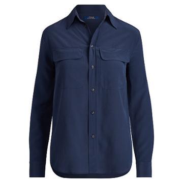 Polo Ralph Lauren Silk Crepe Button-down Shirt Navy