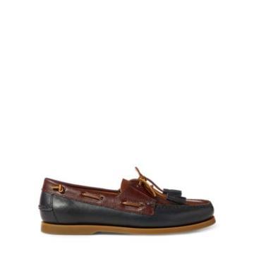 Ralph Lauren Merton Leather Boat Shoe Navy/tan/wine