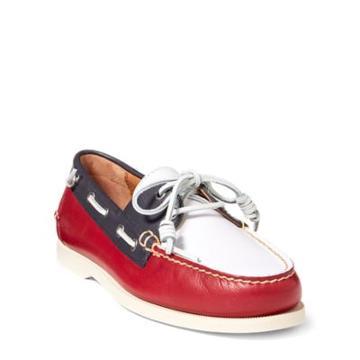 Ralph Lauren Merton Leather Boat Shoe Red/white/navy
