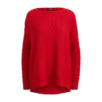 Ralph Lauren Cable Wool-cashmere Sweater Lipstick Red
