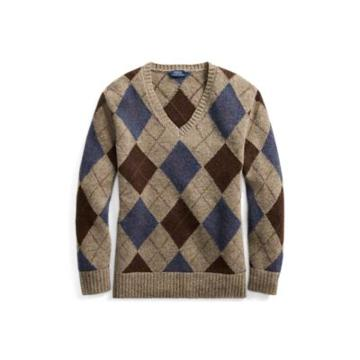Ralph Lauren Argyle Wool V-neck Sweater Grey Multi