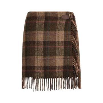 Ralph Lauren Fringe-trim Plaid Wool Skirt Plaid Multi