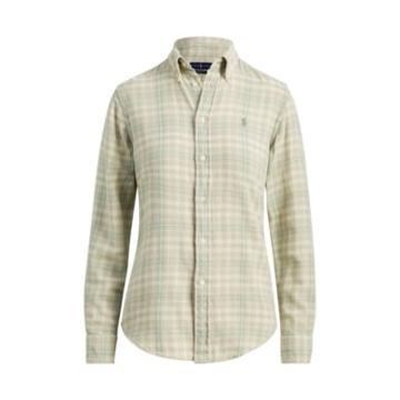 Ralph Lauren Plaid Cotton Flannel Shirt 560 Sage/cream