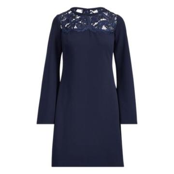 Ralph Lauren Lace-yoke Jersey Dress Lh Navy/lh Navy